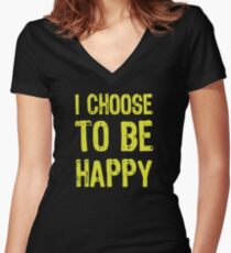 T shirt Be Happy Women's Fitted V-Neck T-Shirt