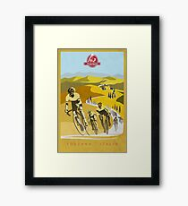 Strade Bianche Retro Cycling Art Framed Print