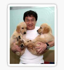 Jackie Chan mit Welpen iv Sticker
