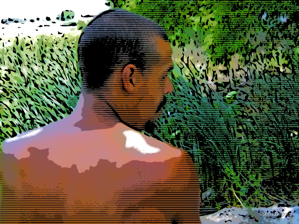 Comic Abstract Man Looking Over Shoulder by steelwidow