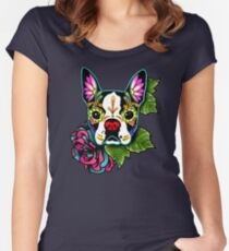 Boston Terrier in Black - Day of the Dead Sugar Skull Dog Women's Fitted Scoop T-Shirt