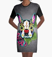 Boston Terrier in Black - Day of the Dead Sugar Skull Dog Graphic T-Shirt Dress