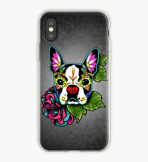Vinilo o funda para iPhone Boston Terrier en negro - Día de los Muertos Sugar Skull Dog