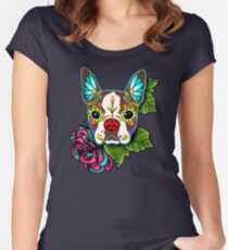 Boston Terrier in Red - Day of the Dead Sugar Skull Dog Women's Fitted Scoop T-Shirt