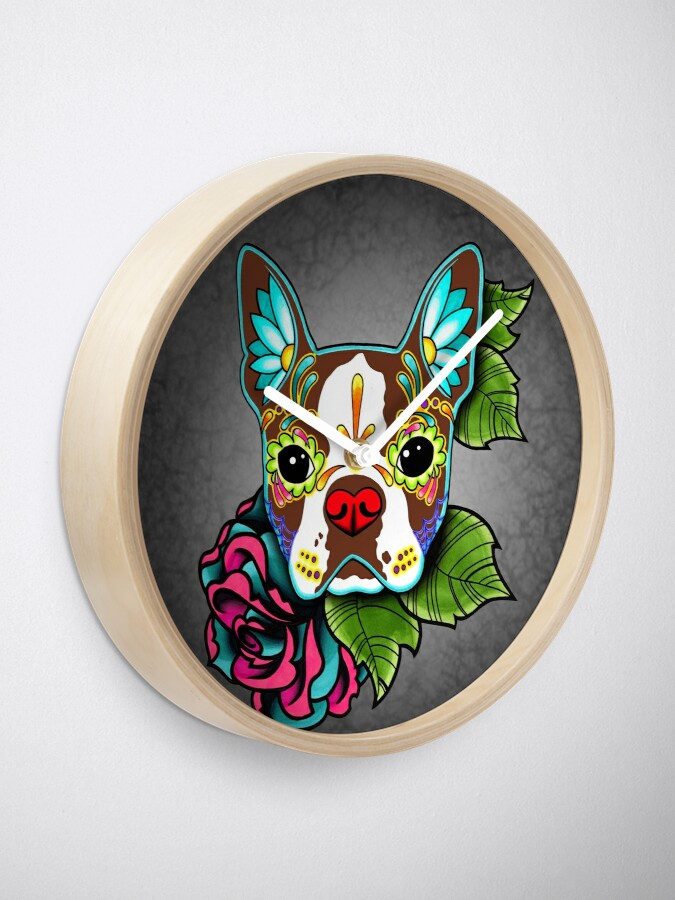 Vista alternativa de Reloj Boston Terrier en rojo - Día de los Muertos Sugar Skull Dog