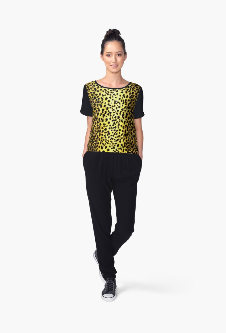 'Leopard Wallpaper Animal Print' Women's Chiffon Top by yonni