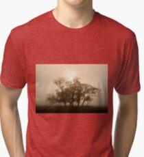 On fire in the fog - Tongala, Victoria, Australia Tri-blend T-Shirt