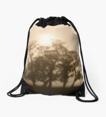 On fire in the fog - Tongala, Victoria, Australia Drawstring Bag
