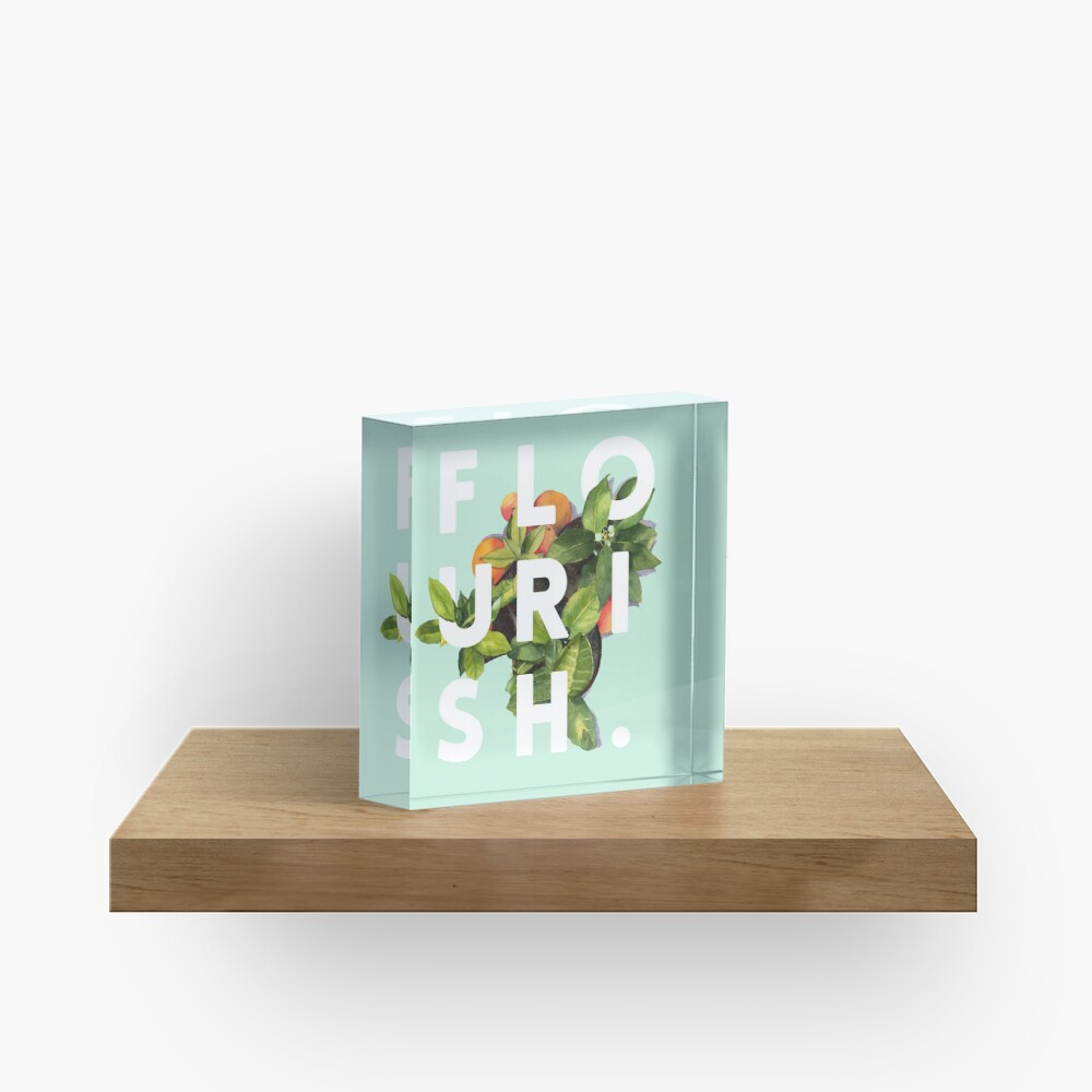 Flourish #redbubble #home #designer #tech #lifestyle #fashion #style Acrylic Block