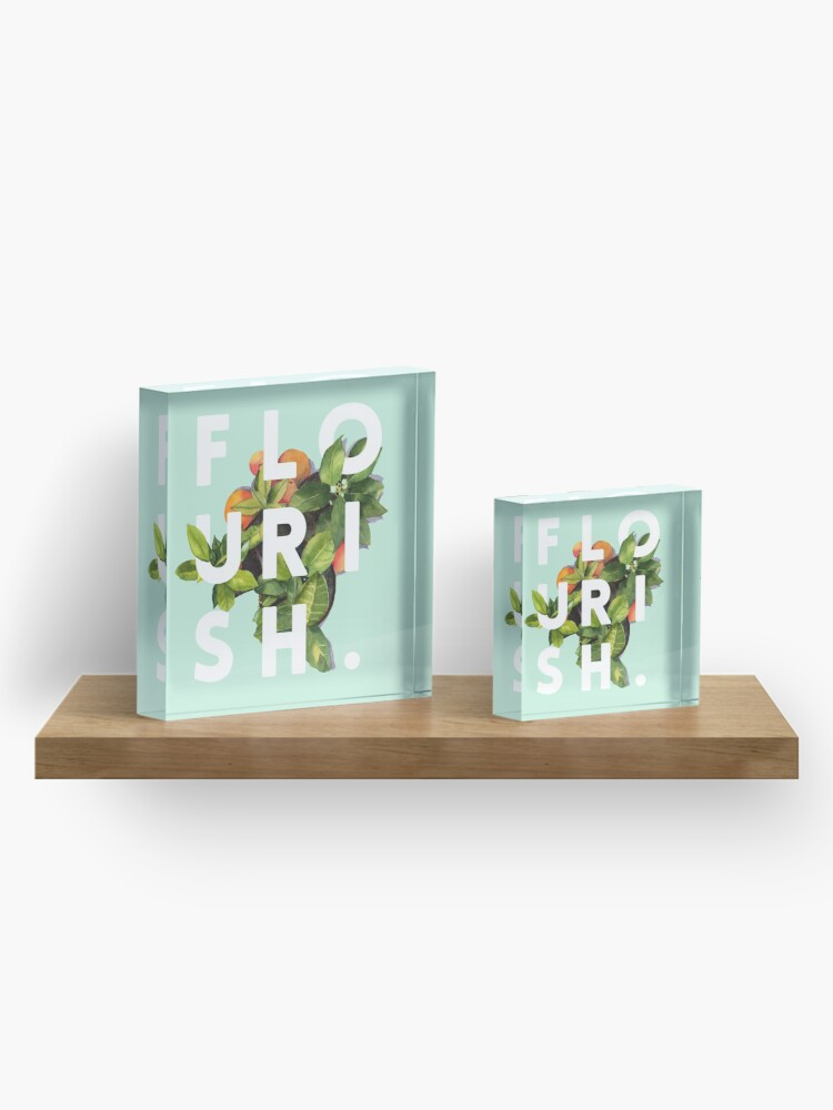 Alternate view of Flourish #redbubble #home #designer #tech #lifestyle #fashion #style Acrylic Block