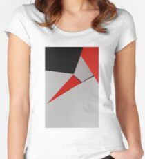 Abstract composition of grey, black and red paper Women's Fitted Scoop T-Shirt