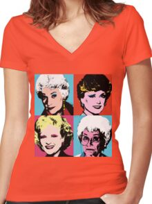 The Golden Warhol Girls Women's Fitted V-Neck T-Shirt