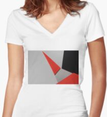 Abstract composition of grey, black and red paper Women's Fitted V-Neck T-Shirt