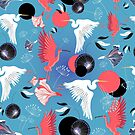 Seamless pattern of herons and ibis by Tanor
