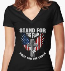 Stand For the Flag Kneel For The Cross Women's Fitted V-Neck T-Shirt