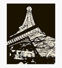 drawing Eiffel Tower, Paris in black and white Photographic Print