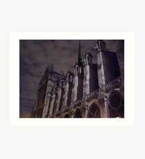 Chilly Night at Notre Dame Art Print