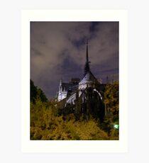 Notre Dame through the Night Art Print