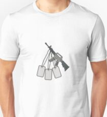 M4 Carbine Dog Tags Hanging Drawing Unisex T-Shirt