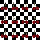 CHECKERED FLAG CHERRIES PATTERN by Tammera