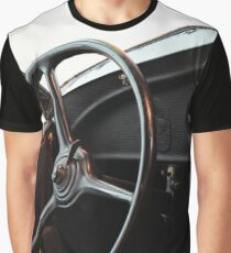 Interior of vintage car with steering wheel  Graphic T-Shirt