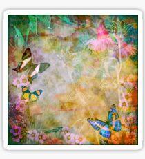 Vibrant Vintage Australian Flora and Butterflies Sticker