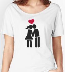 Kissing couple red heart Women's Relaxed Fit T-Shirt