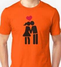 Kissing couple red heart Unisex T-Shirt