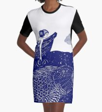 The Blue Shimmering Sea Lights Graphic T-Shirt Dress