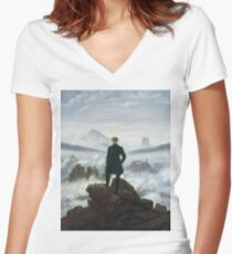 Caspar David Friedrich - The Wanderer Above The Sea Of Fog Women's Fitted V-Neck T-Shirt