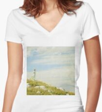 Charles Courtney Curran - A Breezy Day Women's Fitted V-Neck T-Shirt