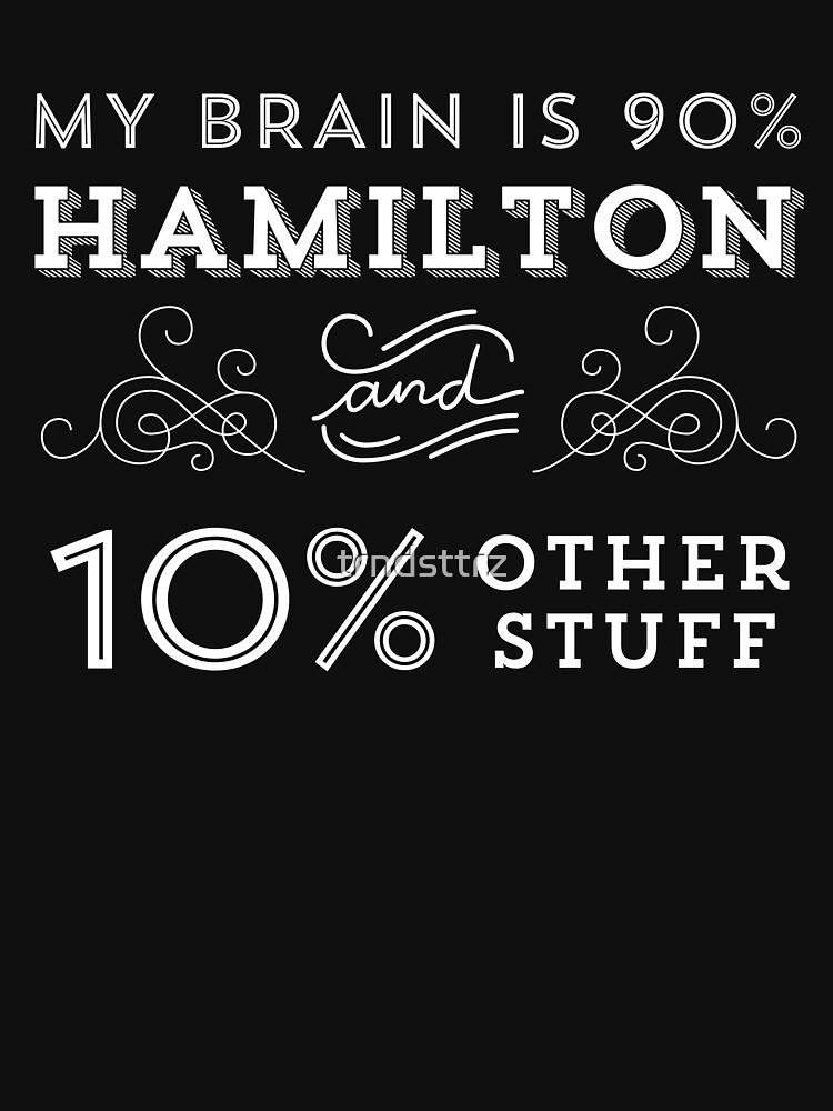 My Brain is 90% Hamilton Camiseta vintage de Hamilton Broadway Musical - Aaron Burr Alexander Hamilton Gift de trndsttrz