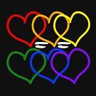 Liebe = Liebe Rainbow Hearts von JCDesignsUK