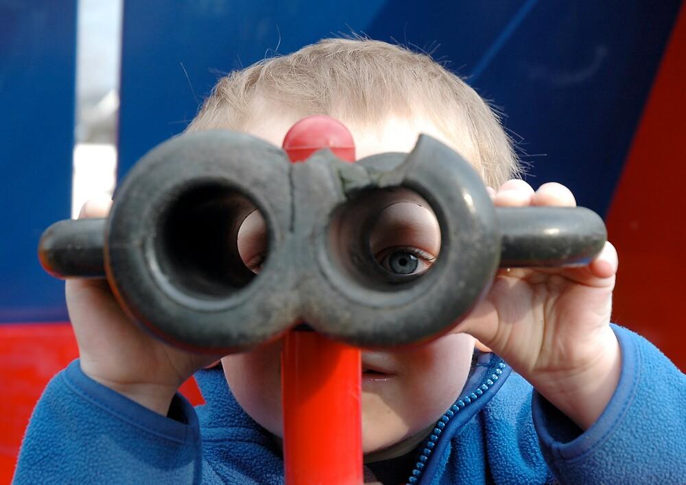 Child with Pretend Binoculars by Richard Lack