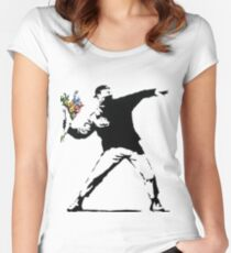Banksy - Throwing Flowers Women's Fitted Scoop T-Shirt