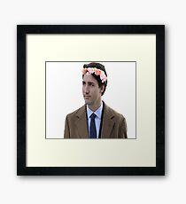 Justin Trudeau Flower Crown 2 Framed Print