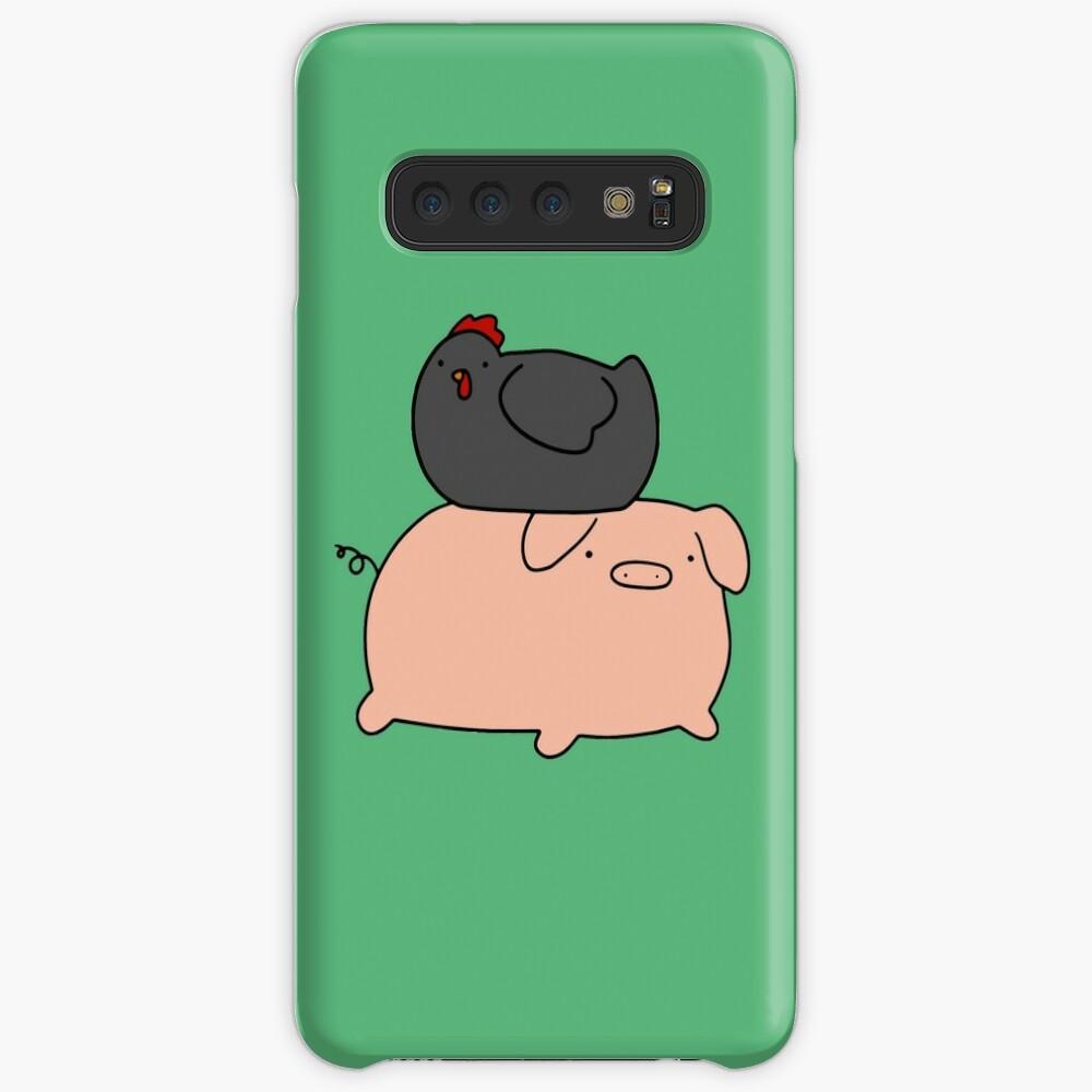 Schwarzes Huhn und Piggy Hülle & Klebefolie für Samsung Galaxy