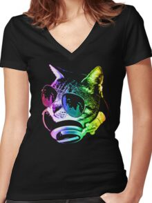 Rainbow Music Cat Women's Fitted V-Neck T-Shirt
