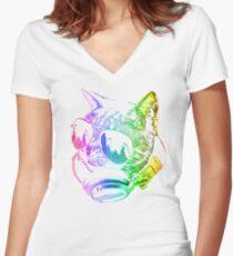 Rainbow Music Cat Women's Fitted V-Neck T-Shirt