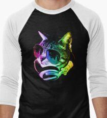 Camiseta ¾ bicolor para hombre Gato de música del arco iris