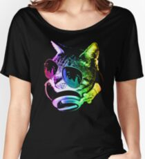 Rainbow Music Cat Women's Relaxed Fit T-Shirt