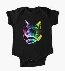 Rainbow Music Cat Short Sleeve Baby One-Piece