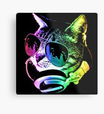 Rainbow Music Cat Metal Print