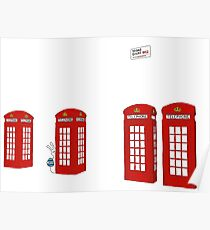 Easter bunny and telephone boxes Poster