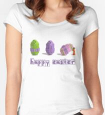 Easter Egg and Minifigure T-shirt Easter Themed LEGO Tee Women's Fitted Scoop T-Shirt