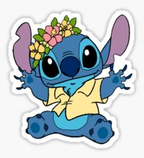 Stitch wearing flower crown Sticker