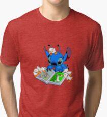 Stitch reading book Tri-blend T-Shirt