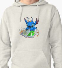 Stitch reading book Pullover Hoodie