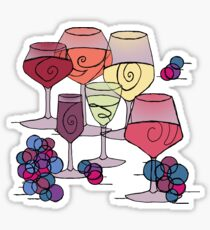 Wine and Grapes v2 Sticker