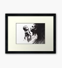 Shadowtwister, reflections - conté drawing Framed Print